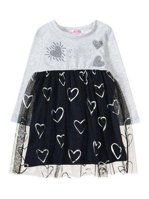 """Платья для девочек """"Heart grey"""", цвет Серый темно-синий"""