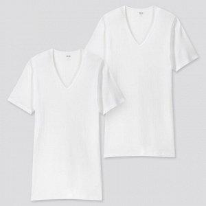 Тонкая футболка с V-образным вырезом 2 шт.,белый