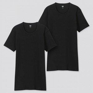 Тонкая футболка с круглым вырезом 2 шт.,черный