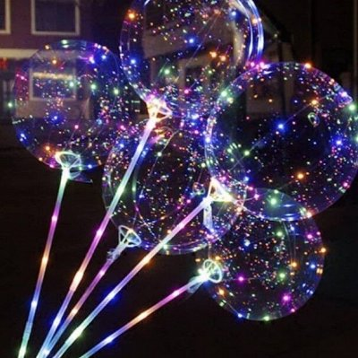 Экспресс💥Подарки для всех)  — Светящийся шарик с гирляндой — Воздушные шары, хлопушки и конфетти