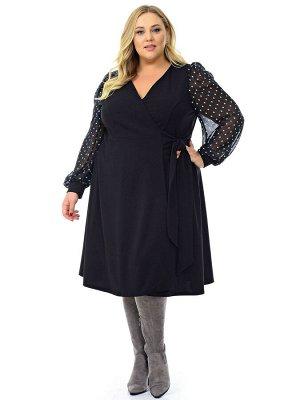 Платье с запАхом черное,  рукава из черного шифона в ментоловый горошек