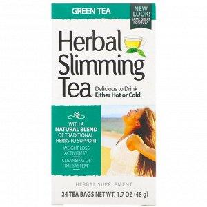 21st Century, Травяной чай для похудения, зеленый чай, без кофеина, 24 чайных пакетика, 45 г (1,6 унции)