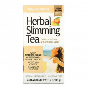21st Century, Травяной чай для похудения, со вкусом персика и абрикоса, без кофеина, 24 чайных пакетика, 48 г (1,7 унции)