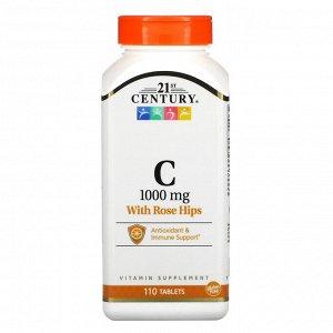 21st Century, витамин С с плодами шиповника, 1000 мг, 110 таблеток