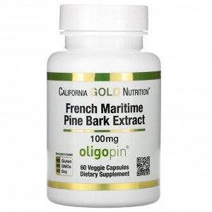 California Gold Nutrition, Французский экстракт коры приморской сосны, олигопин, антиоксидант полифенол, 100 мг, 60 вегетарианск