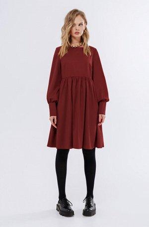 Платье Рост: 164-170 см. Состав ткани: 68% вискоза 30% полиэстер 2% эластан Текстильное платье-трапеция со сборкой по талии. Детали: свободный силуэт, завышенная отрезная линия талии, нагрудные вытачк