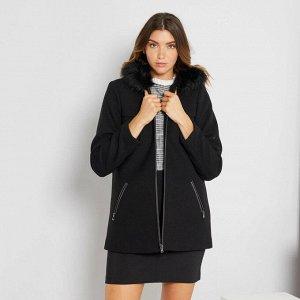 Пальто из материала под шерсть - черный