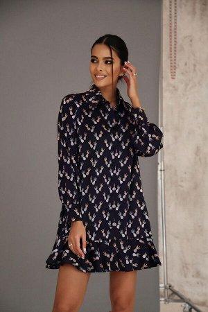 Платье-рубашка из искусственного шёлка с воланом
