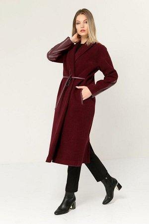 Пальто из драпа в комбинации с искусственной кожей, Пальто 91404-3991