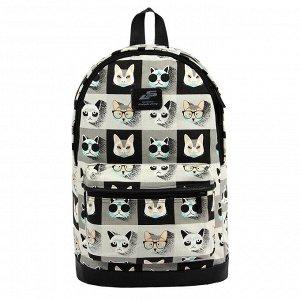 Рюкзак городской 37, брезент кошки серые