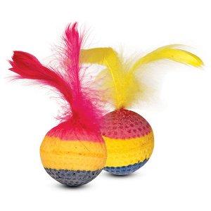 Мяч радужный зефирный с пером
