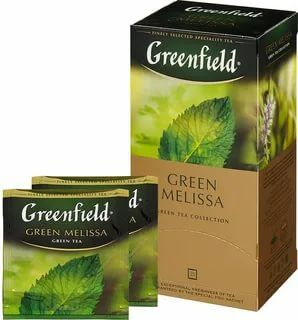 Чай Гринфилд Green Melissa green tea в п/э уп. 1,5г 1/100/10  для Horeka , шт