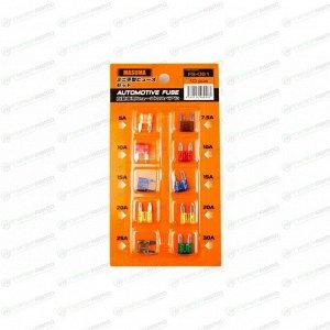 Предохранитель автомобильный Masuma, флажковый, мини (MINI S1035-1/FN), 5/7,5/10/15/20/25/30А, 32В, комплект 10 шт, арт. FS-061