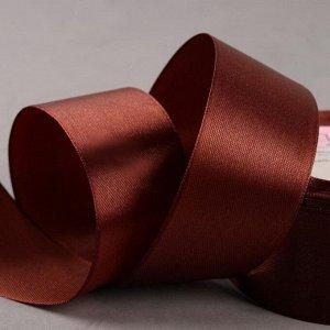 Лента атласная, 40 мм ? 23 ± 1 м, цвет коричневый №74