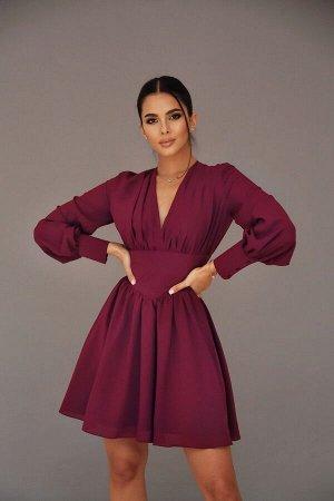 Платье из креп-шифона с эффектом корсетного пояса