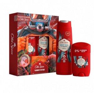 Q -> Подарочный набор OLD SPICE Твердый дезодорант Deep sea 50мл + Гель для душа Minerals 250мл