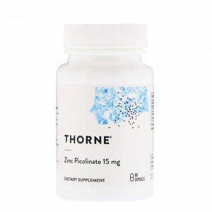 Thorne Research, пиколинат цинка, 15 мг, 60 капсул