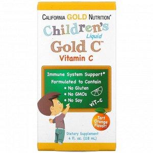 California Gold Nutrition, витамин C в жидкой форме для детей, класса USP, со вкусом терпкого апельсина, 118 мл (4 жидк. унции)