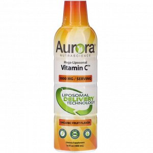 Aurora Nutrascience, Mega-Liposomal Vitamin C, органический фруктовый вкус, 3000 мг, 480 мл (16 жидк. унций)