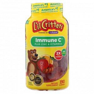 L'il Critters, Immune C с цинком и витамином D, 190 жевательных мармеладок
