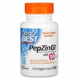 Doctor's Best, PepZin GI, комплекс цинк-L-карнозина, 120 вегетарианских капсул