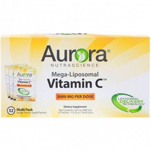 Aurora Nutrascience, Mega-Liposomal Vitamin C, липосомальный витамин C, 3000 мг, 32 порционные упаковки по 15 мл (0,5 жидк. унции)