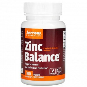 Jarrow Formulas, Zinc Balance, 100 вегетарианских капсул