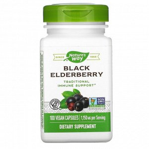 Nature's Way, черная бузина, 1150 мг, 100 вегетарианских капсул