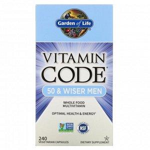 Garden of Life, Vitamin Code, мультивитамины из цельных продуктов для мужчин от 50 лет, 240 вегетарианских капсул