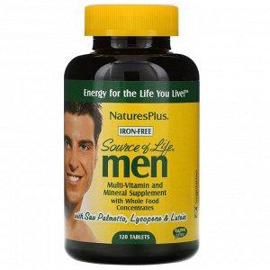 Nature's Plus, Source of Life, не содержащая железа поливитаминная и минеральная добавка с концентратами цельных продуктов для мужчин, 120 таблеток