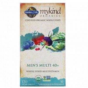 Garden of Life, MyKind Organics, мультивитамины из цельных продуктов для мужчин от 40 лет, 120 веганских таблеток