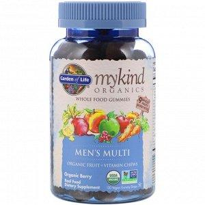 Garden of Life, MyKind Organics, мультивитамины для мужчин, органические ягоды, 120 веганских жевательных таблеток