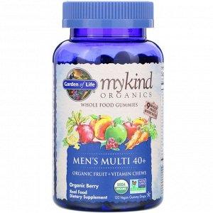 Garden of Life, MyKind Organics, Multi 40+ для мужчин, органические ягоды, 120 веганских жевательных капель