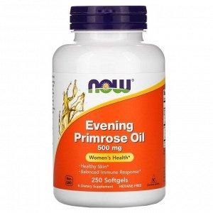 Now Foods, масло первоцвета вечернего, 500 мг, 250 капсул