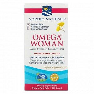 Nordic Naturals, Omega Woman, с маслом примулы вечерней, 120 капсул
