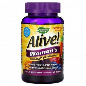 Nature's Way, Alive! жевательные витамины для женщин, 75 жевательных таблеток