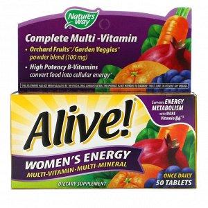 Nature's Way, Alive! Women's Energy, комплекс витаминов и микроэлементов для женщин, 50 таблеток