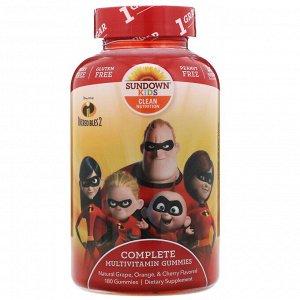Sundown Naturals Kids, полноценный комплекс мультивитаминов в жевательных таблетках, «Суперсемейка 2», натуральные апельсин и вишня, 180 жевательных таблеток