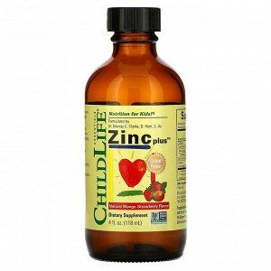 ChildLife, Essentials, Zinc Plus, цинк, натуральный вкус манго и клубники, 118 мл (4 жидк. унции)