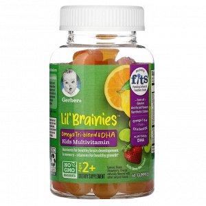 Gerber, Lil Brainies, смесь трех омега жирных кислот и ДГК, мультивитаминная добавка, для детей от 2 лет, 60 жевательных конфет