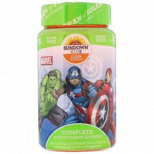 Sundown Naturals Kids, Жевательные конфеты с полноценным комплексом витаминов, «Marvel Avengers», натуральные ароматизаторы со вкусом винограда, апельсина и вишни, 60 жевательных конфет