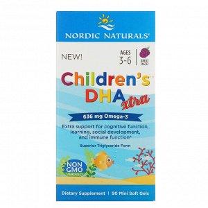 Nordic Naturals, Children's DHA Xtra, Ягодный пунш, 636 мг, 90 мягких мини-таблеток
