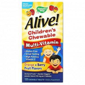 Nature's Way, Alive! жевательные детские мультивитамины, со вкусом апельсина и ягод, 120 жевательных таблеток