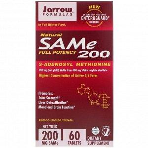 Jarrow Formulas, натуральный SAM-e (S-аденозил-L-метионин) 200, 200 мг, 60 таблеток, покрытых кишечнорастворимой оболочкой