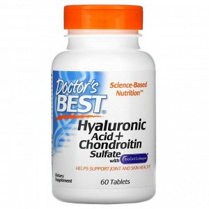 Doctor's Best, Лучшая гиалуроновая кислота с сульфатом хондроитина и коллагеном BioCell, 60 таблеток