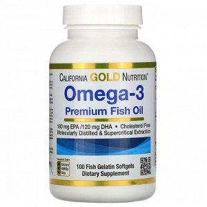 California Gold Nutrition, омега-3, рыбий жир премиального качества, 100 рыбно-желатиновых капсул