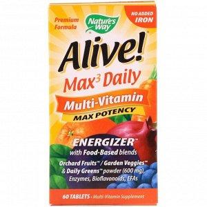 Nature's Way, Alive! Max3 Daily, мультивитаминный комплекс, без добавления железа, 60 таблеток