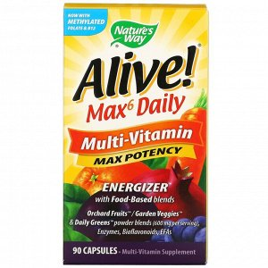 Nature's Way, Alive! Max6 Daily, мультивитамины для ежедневного использования, 90 капсул