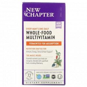 New Chapter, Every Man's One Daily Multi, мультивитаминная добавка для мужчин, 72 вегетарианских таблетки