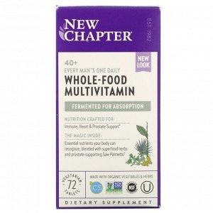 New Chapter, 40+ Every Man's One Daily Multi, мультивитамины для мужчин, 72 растительные таблетки